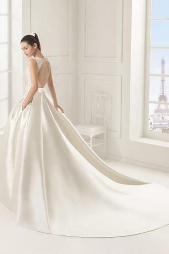 Vestido de novia Satén Cremallera Modesto Cola Panel Sin mangas Bolsillos - Página 2