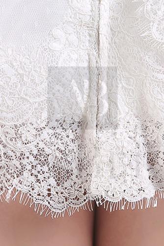 Vestido de novia Encaje Alto cubierto Manga de longitud 3/4 Corto Mangas Illusion - Página 3