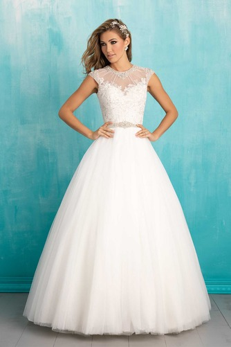 Vestido de novia tul Cola Barriba Natural Iglesia Apliques Corte-A - Página 1