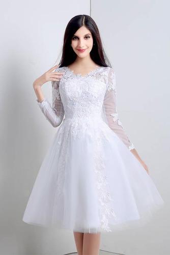 Vestido de novia Apliques Natural Corte-A Alto cubierto Hasta la Rodilla - Página 3