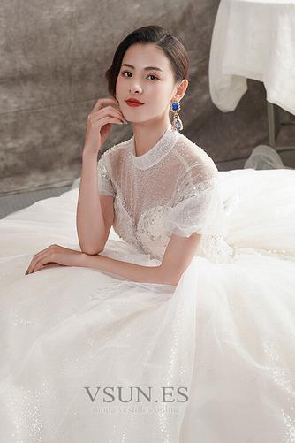 Vestido de novia Manga corta Natural Iglesia Corte-A Falta Organza - Página 4