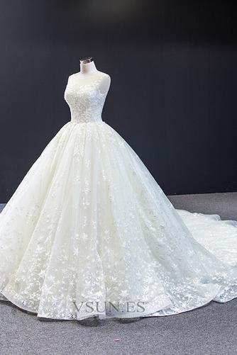 Vestido de novia Iglesia Drapeado Natural Cola Corte Corte-A Barco - Página 6