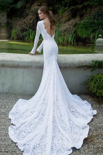 Vestido de novia Encaje Encaje Corte Sirena Cremallera Otoño Natural - Página 2