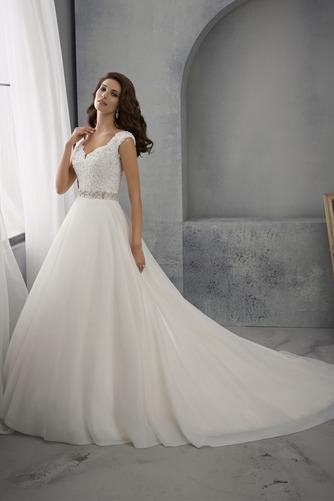 Vestido de novia Espalda medio descubierto Cinturón de cuentas Escote en V - Página 1