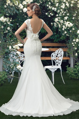 Vestido de novia Fajas Manga corta Otoño Espalda medio descubierto Cola Barriba - Página 2