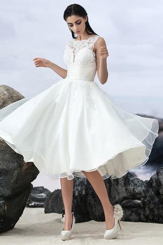 Vestido de novia Sin mangas Corte-A Natural Organza Volantes Adorno - Página 2