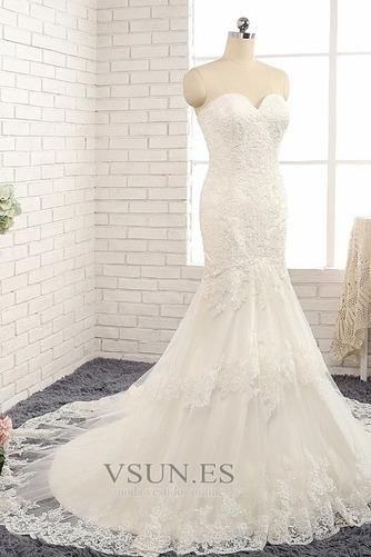 Vestido de novia Natural Apliques Capa de encaje Invierno tul Moderno - Página 3