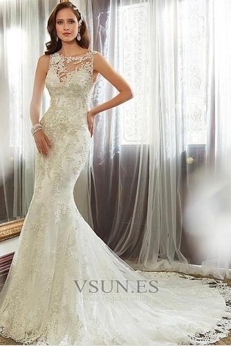 Vestido de novia Corte Sirena Encaje Espalda con ojo de cerradura Sin mangas - Página 1
