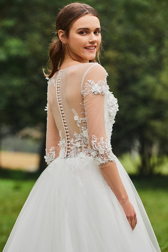 Vestido de novia Cola Barriba Barco tul Sin mangas Corte-A Pura espalda - Página 6