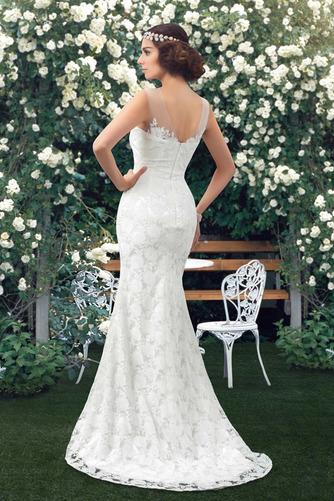 Vestido de novia Encaje Barco Natural Corte Recto Sin mangas Drapeado - Página 3