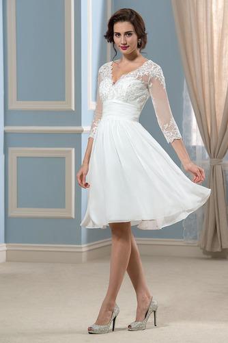 Vestido de novia Hasta la Rodilla Elegante Otoño Apliques Cremallera - Página 2
