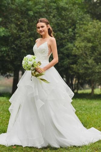 Vestido de novia Escote de Tirantes Espaguetis Natural tul Cola Capilla - Página 2