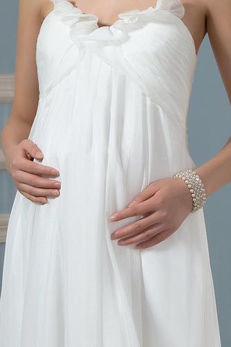 Vestido de novia Imperio Sencillo Gasa Otoño Cola Barriba Plisado - Página 5