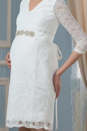 Vestido de novia vendimia Cremallera Encaje Escote en V Mangas Illusion - Página 4
