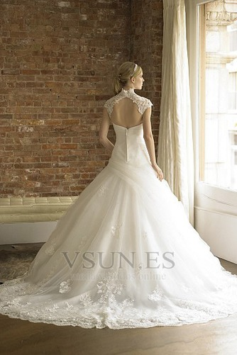 Vestido de novia Encaje primavera Blanco Espalda con ojo de cerradura - Página 2