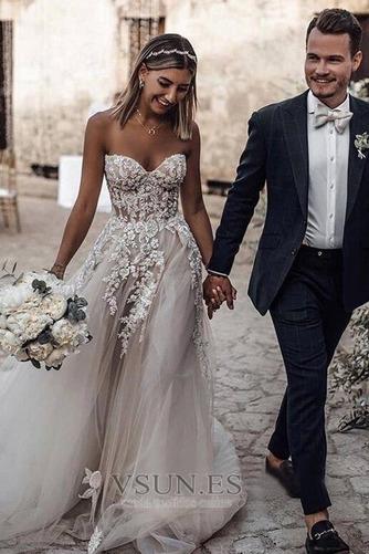 Vestido de novia Encaje Sin mangas Otoño Corte-A Escote Corazón Capa de encaje - Página 1
