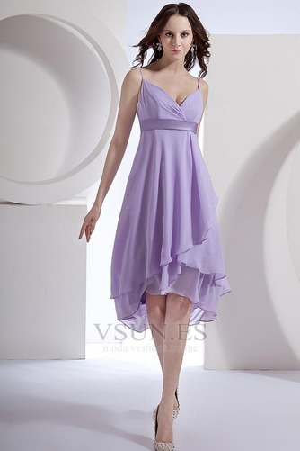 Vestido de dama de honor primavera Pera Escote de Tirantes Espaguetis Gasa Fajas - Página 1