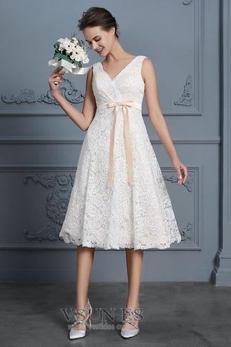 Vestido de novia Playa Natural Falta Escote en V Arco Acentuado Cremallera - Página 1
