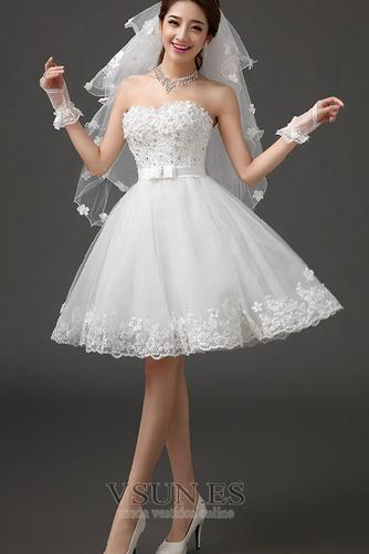 Vestido de novia Sin tirantes Falta Playa Verano Lazos Sin mangas - Página 3
