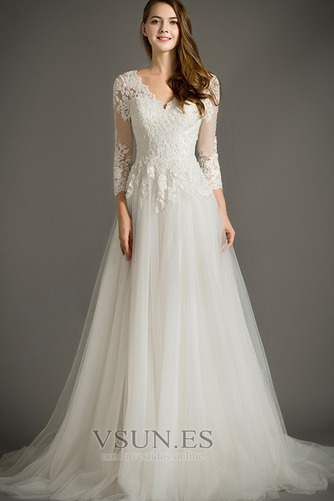 Vestido de novia Cremallera Mangas Illusion Elegante tul Apliques Corte-A - Página 1
