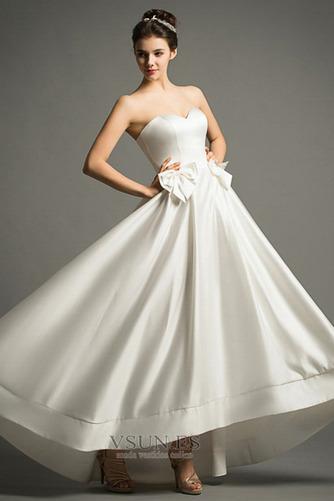 Vestido de novia Playa Cremallera Escote Corazón Lazos Natural Falta - Página 1