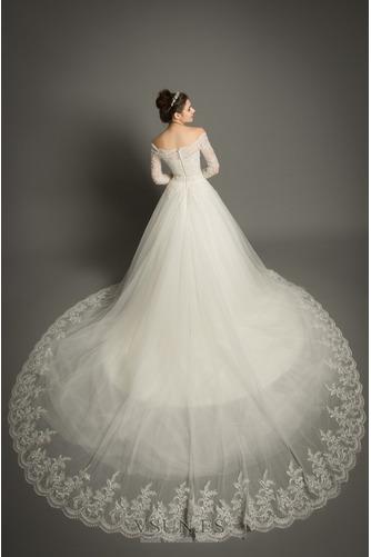 Vestido de novia Elegante Encaje Abalorio Pera Cremallera Corte-A - Página 2