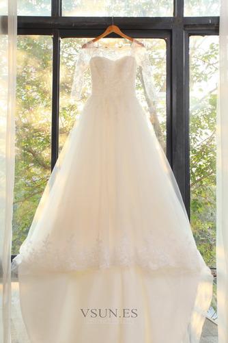 Vestido de novia Elegante Encaje Abalorio Pera Cremallera Corte-A - Página 5