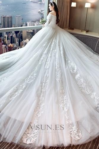 Vestido de novia Elegante Escote con Hombros caídos Capa de encaje Camiseta - Página 3