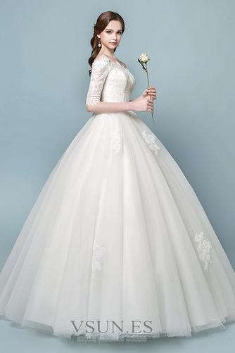 Vestido de novia Elegante Mangas Illusion Falta Capa de encaje Cordón - Página 4