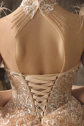 Vestido de novia Drapeado Natural Espalda con ojo de cerradura Manga corta - Página 6