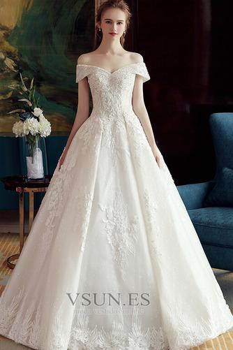 Vestido de novia Corpiño Acentuado con Perla Manga corta Triángulo Invertido - Página 1
