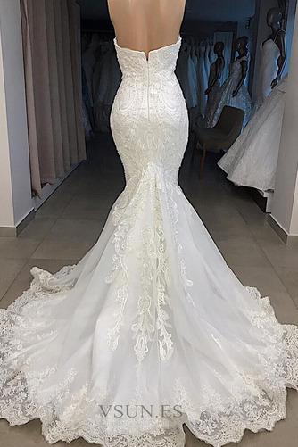 Vestido de novia Satén Capa de encaje Sin mangas Playa Natural Bordado - Página 2