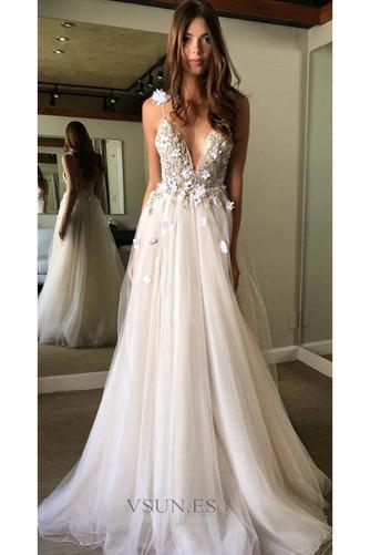 Vestido de novia Baja escote en V Escote de Tirantes Espaguetis Natural - Página 3