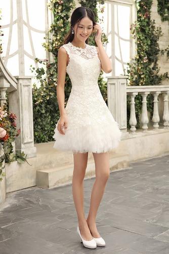 Vestido de novia Joya Sin mangas Encaje Informal Verano Alto cubierto - Página 1