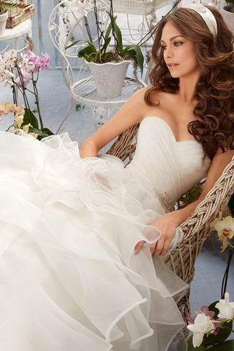 Vestido de novia Corte princesa largo Sin mangas Escote Corazón Otoño - Página 3