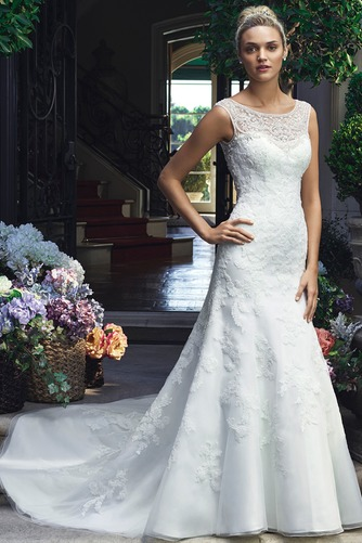 Vestido de novia primavera Encaje Cremallera Natural Abalorio largo - Página 1