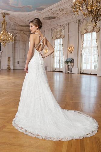 Vestido de novia Escote de Tirantes Espaguetis Abalorio Natural Elegante - Página 2
