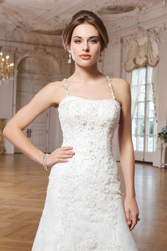 Vestido de novia Escote de Tirantes Espaguetis Abalorio Natural Elegante - Página 3