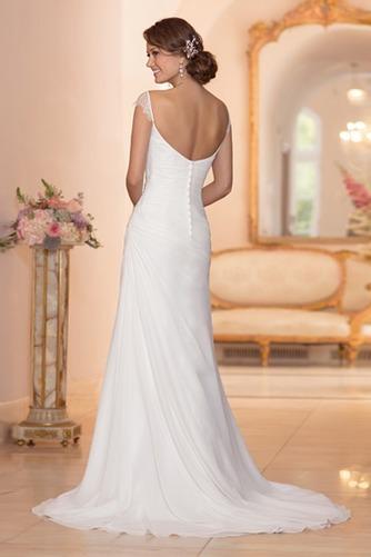 Vestido de novia Playa largo Corte Recto Escote en V Botón Sin mangas - Página 2
