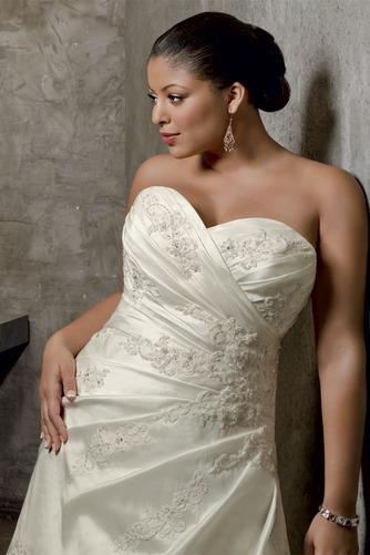 Vestido de novia Apliques Sin mangas Cola Capilla Escote Corazón Satén - Página 2