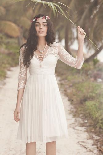 Vestido de novia Imperio Baja escote en V Glamouroso Gasa Verano Manga de longitud 3/4 - Página 3