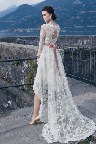 Vestido de novia Cordón Verano Alto Bajo Escote Cuadrado Manga larga - Página 5