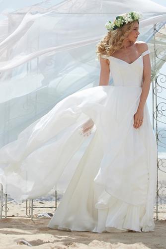 Vestido de novia Fuera de casa Natural Escote con Hombros caídos Volantes Adorno - Página 1