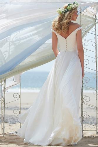 Vestido de novia Fuera de casa Natural Escote con Hombros caídos Volantes Adorno - Página 2