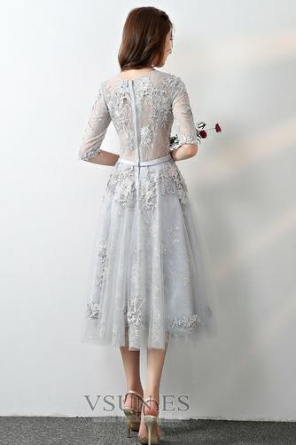 Vestido de dama de honor Corte-A Cremallera Encaje Falta Hasta la Tibia Capa de encaje - Página 2