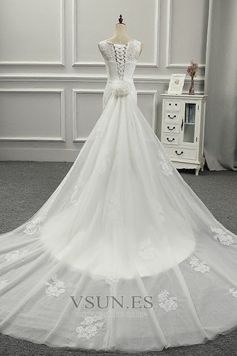Vestido de novia Falta Fuera de casa Abalorio Sin mangas Cordón Cintura Baja - Página 5