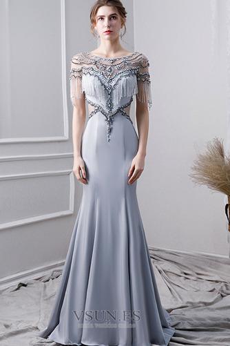 Vestido de noche Elegante Corpiño Acentuado con Perla Natural Satén - Página 1