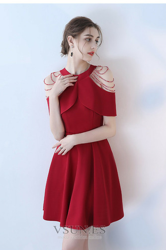 Vestido de cóctel Elegante Manga suelta Cremallera Verano Abalorio Joya - Página 6