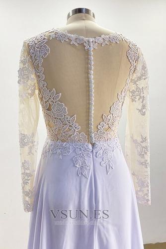 Vestido de novia Playa Mangas Illusion Manzana Corte-A Pura espalda - Página 5