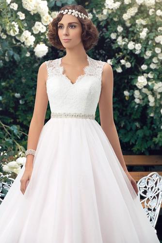 Vestido de novia Elegante Cola Capilla Pura espalda Natural Sin mangas - Página 3